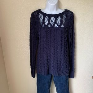 Lauren Conrad Navy Sweater with Lace